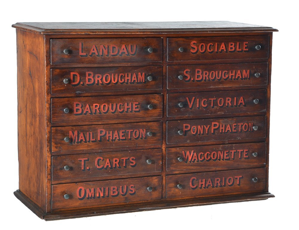 12 drawer cabinet labeled with carriage types, 19th c