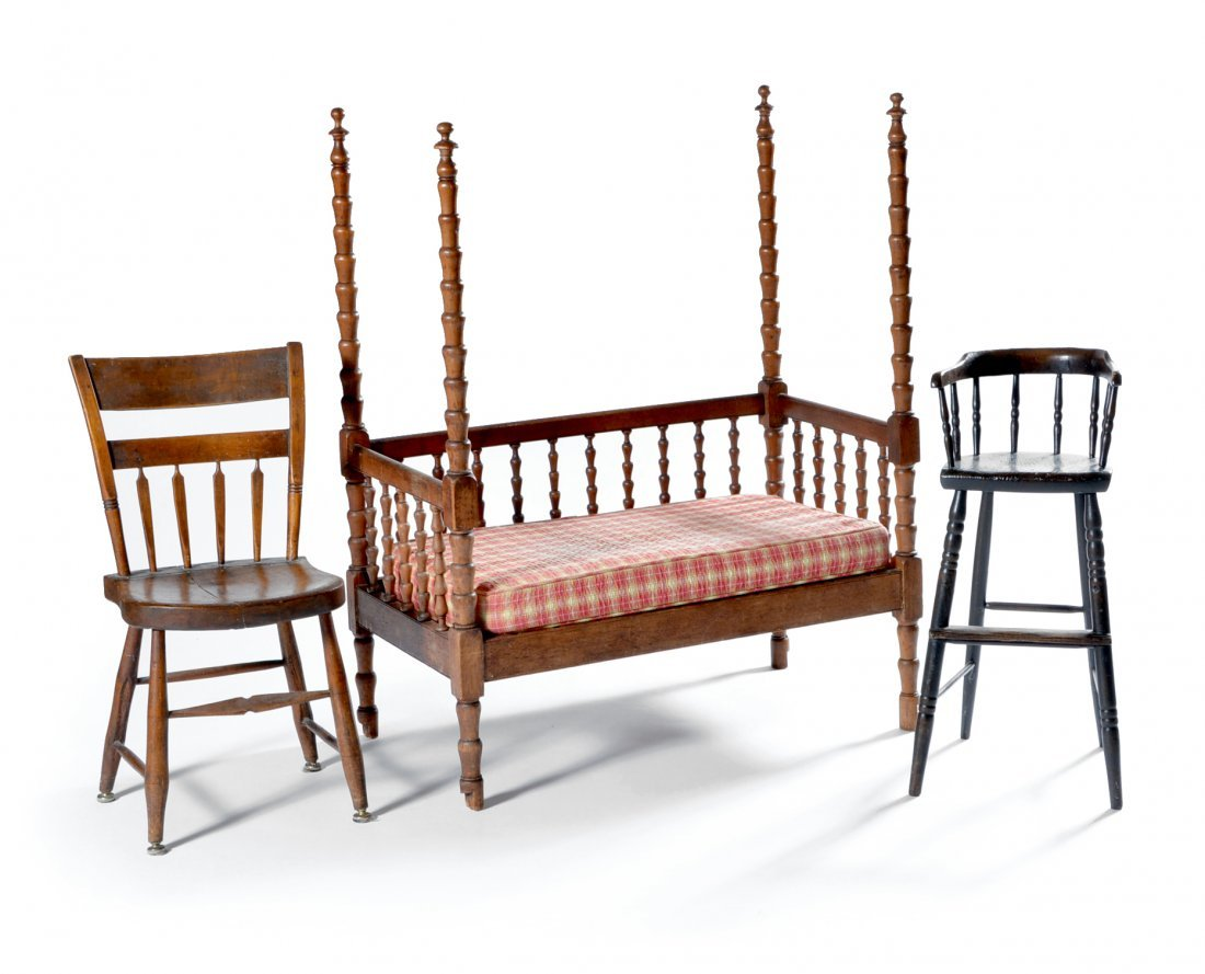Doll bed, Youth chair & child's chair, all 19th c