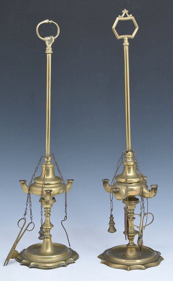 2 Brass whale oil lamps