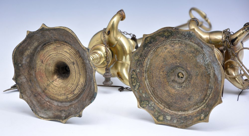 2 Brass whale oil lamps - 4