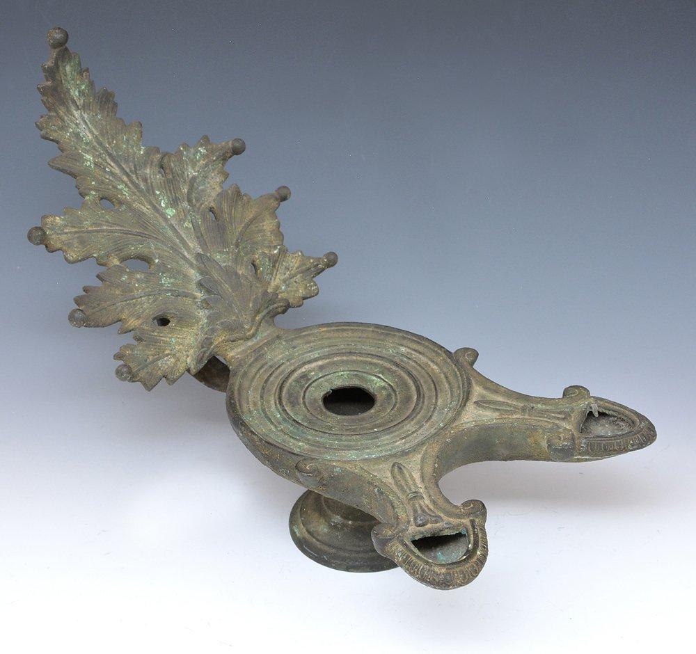 Large verdigrised bronze oil lamp, 19th c
