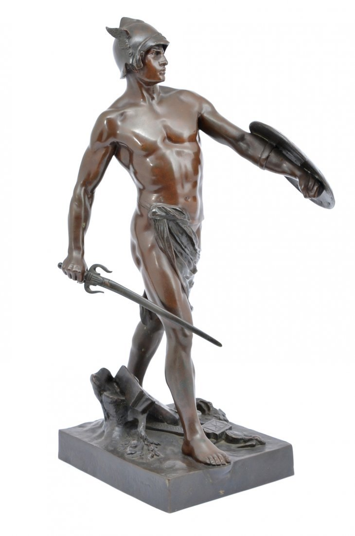 "E. Picault bronze, ""Pro Jure"", Gallic warrior, 25"" t"