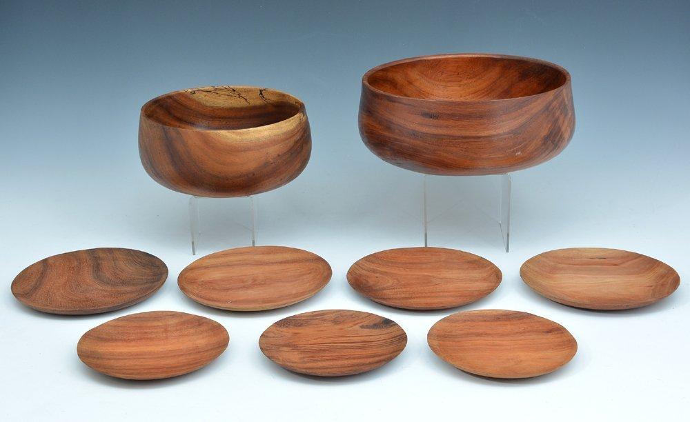 9 Hawaiian calabash koa bowls, Brantley Center