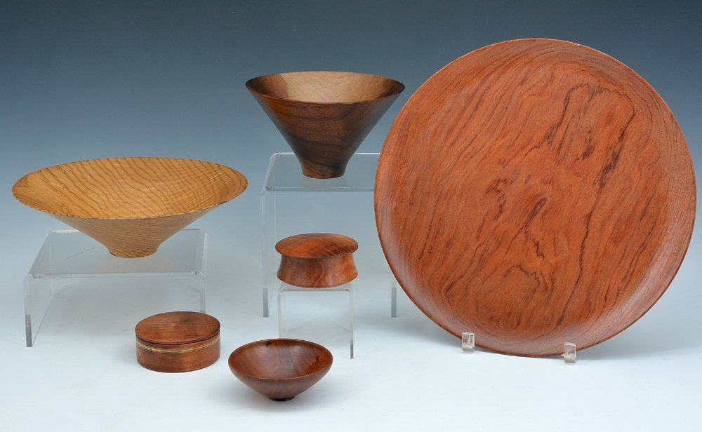 5 Wood bowls and 1 platter, by Stocksdale and Stoudt