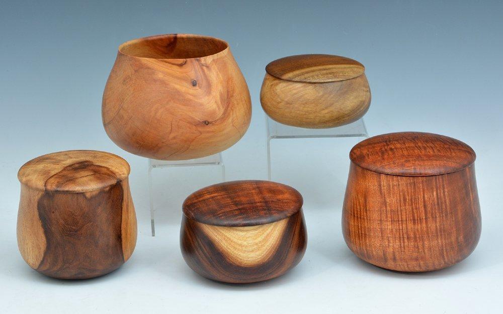 5 Wood bowls by Larry DeLuz, koa, juniper, mulang