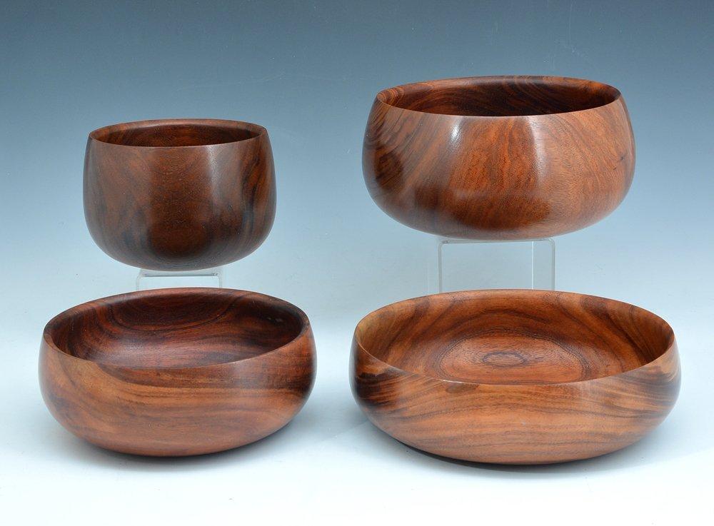 4 Hawaiian calabash koa bowls, Kama'aina Woods