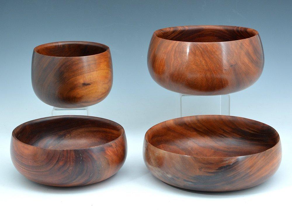4 Hawaiian calabash koa bowls, Kama'aina Woods - 2