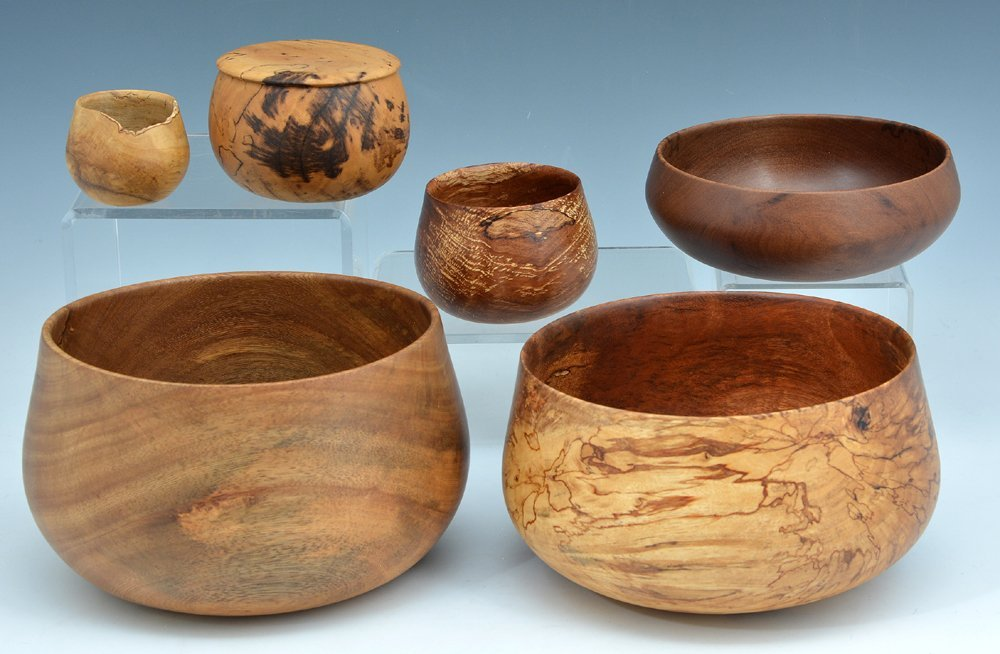 6 Bowls carved from flower and fruit woods by Dan DeLuz