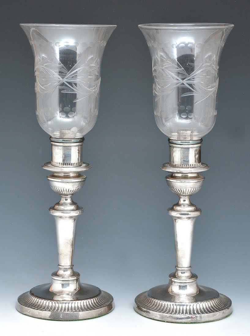 Pair Of George III Sheffield Plate Candlestick Lamps