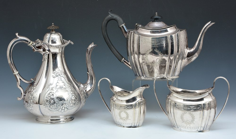 English silverplate coffee pot and tea set
