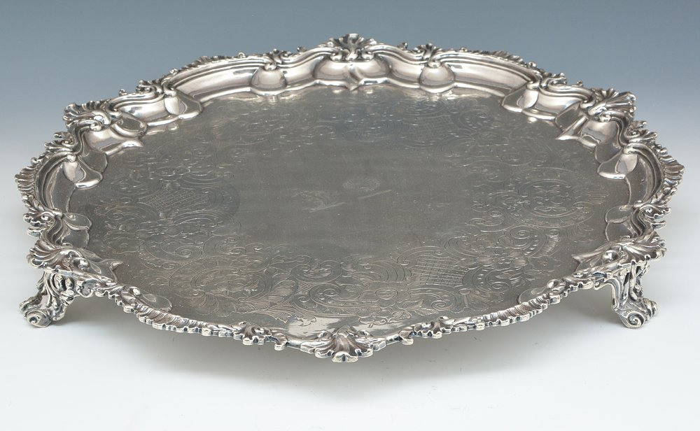 English sterling silver footed tray, London, 1809