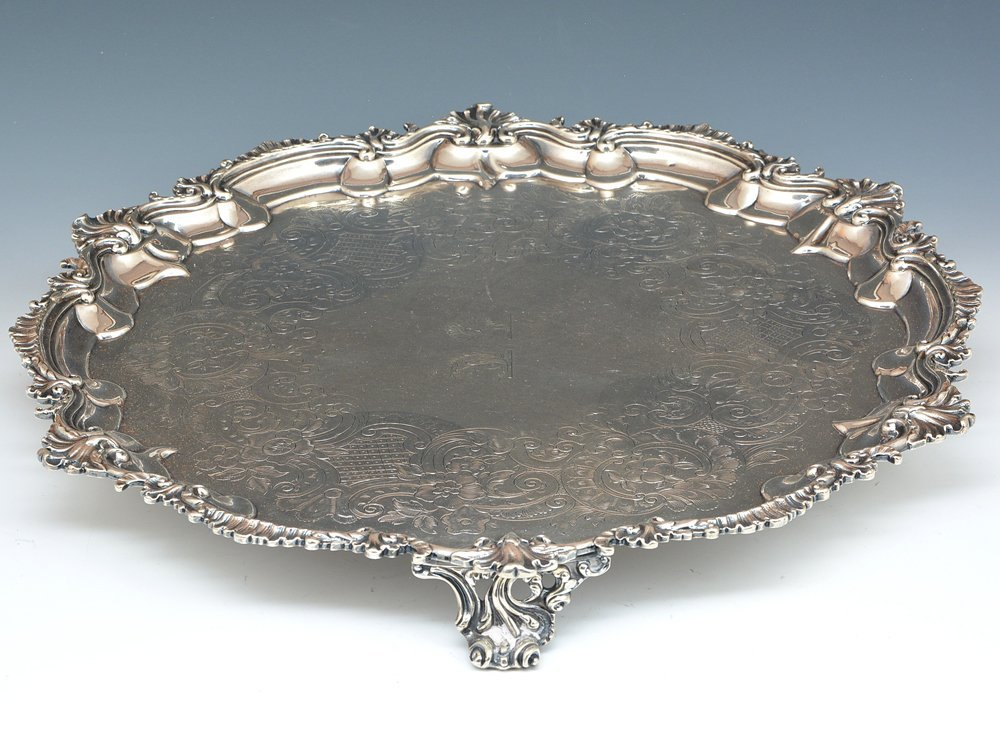 English sterling silver footed tray, London, 1809 - 2