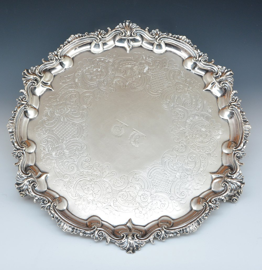 English sterling silver footed tray, London, 1809 - 3