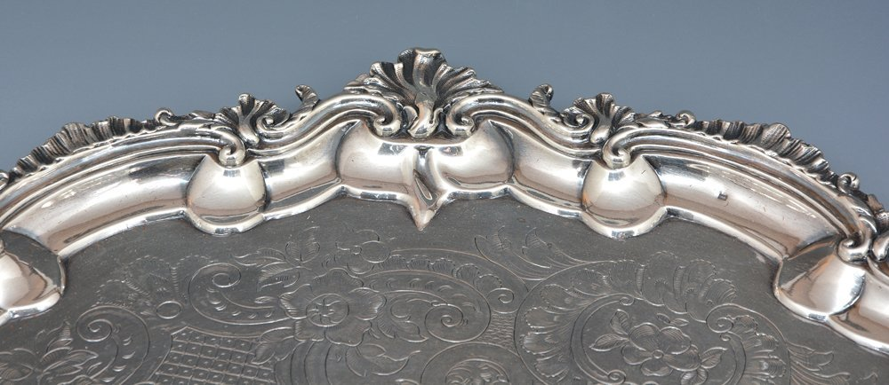 English sterling silver footed tray, London, 1809 - 6