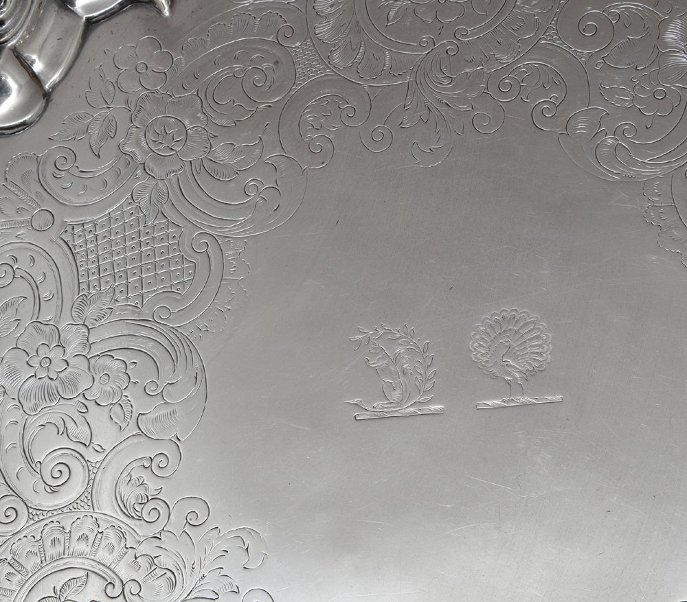 English sterling silver footed tray, London, 1809 - 7