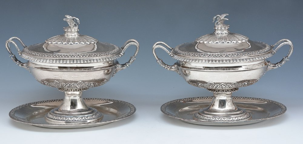 J Kurz & Co silver compotes with swan finials