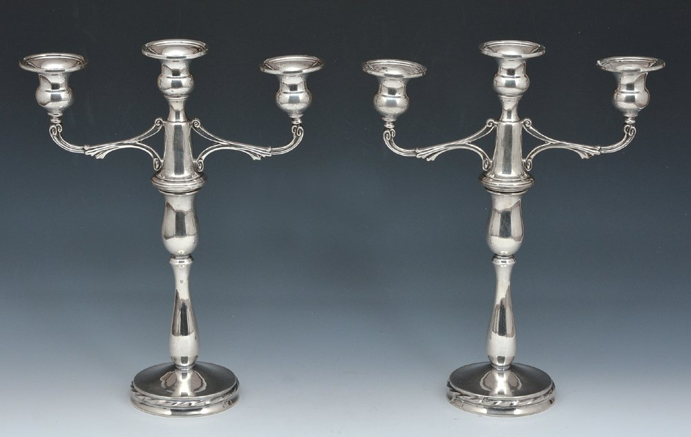 Pair of Towle sterling convertible candelabra
