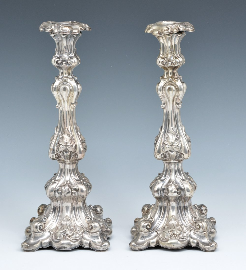 """Pair of fancy continental silver candlesticks, 13 1/2"""""""