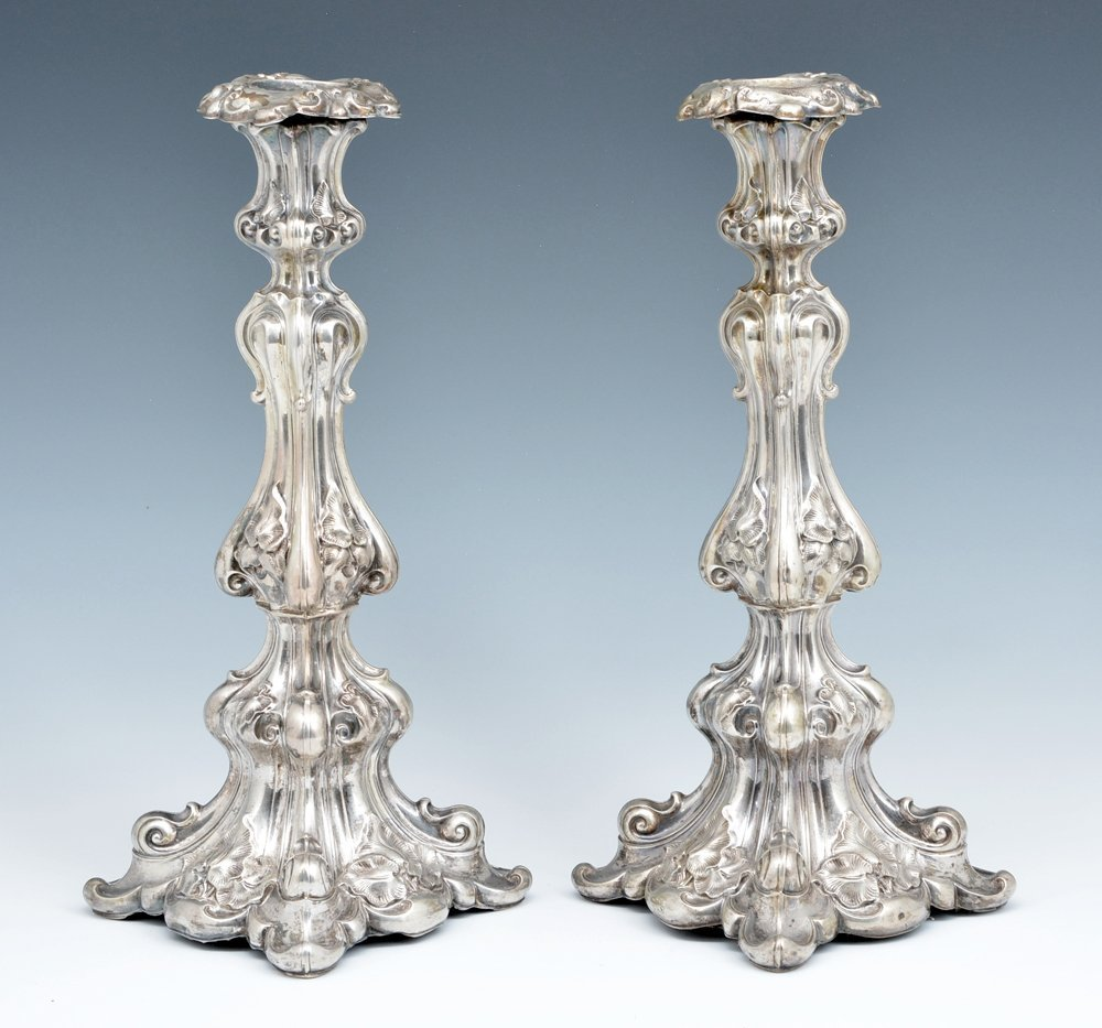 """Pair of fancy continental silver candlesticks, 13 1/2"""" - 2"""