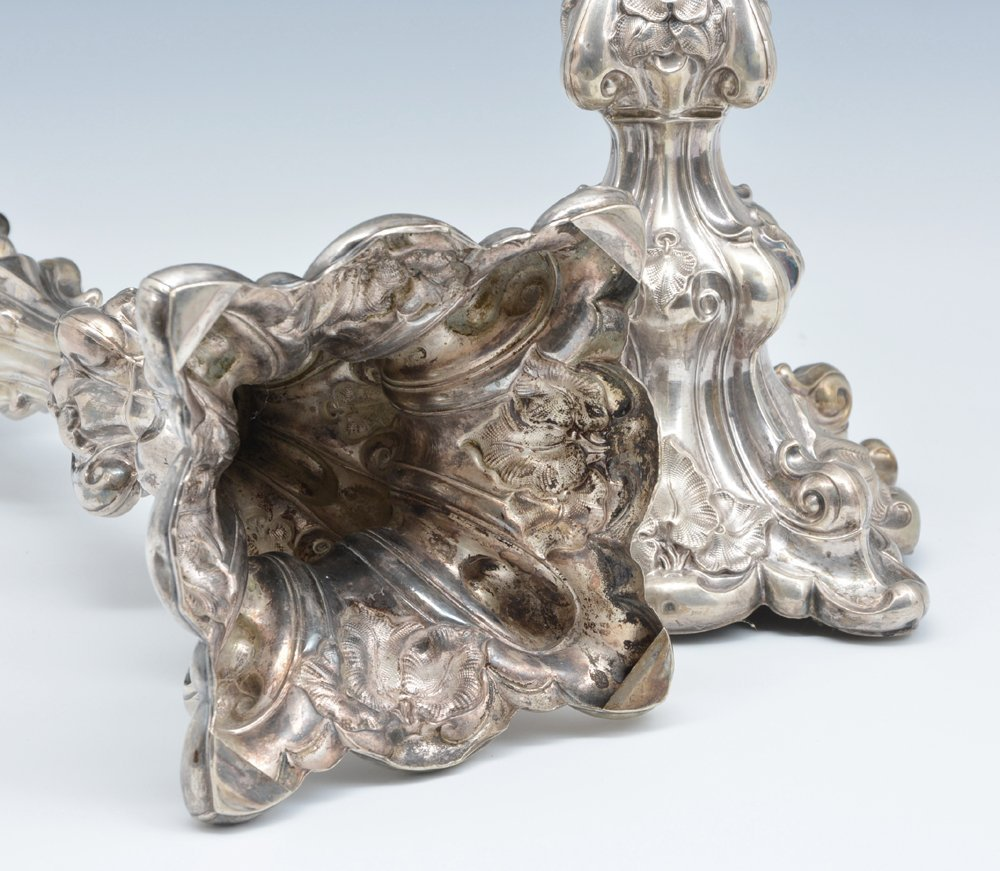 """Pair of fancy continental silver candlesticks, 13 1/2"""" - 3"""