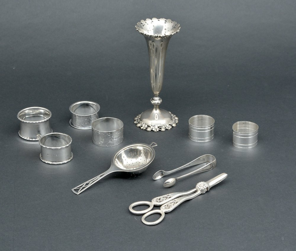 Misc sterling tableware, 10 pcs