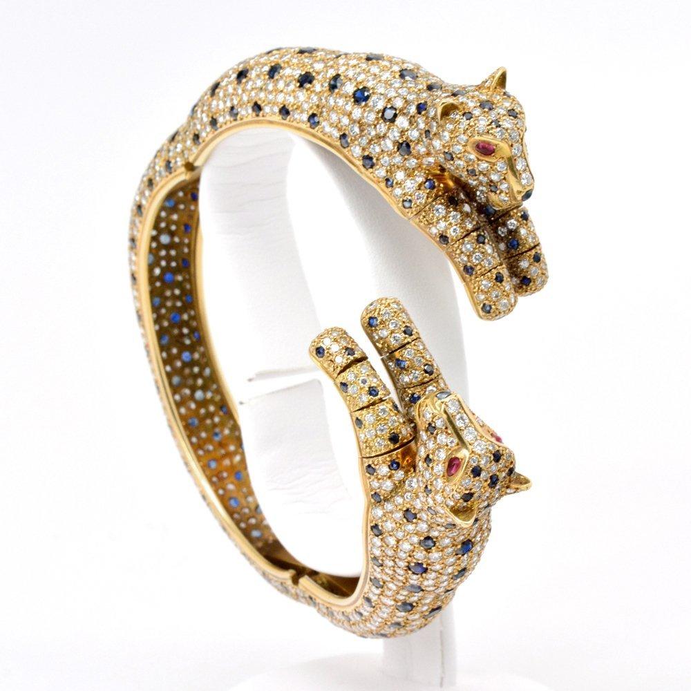 Sapphire Diamond Ruby Leopard Bracelet