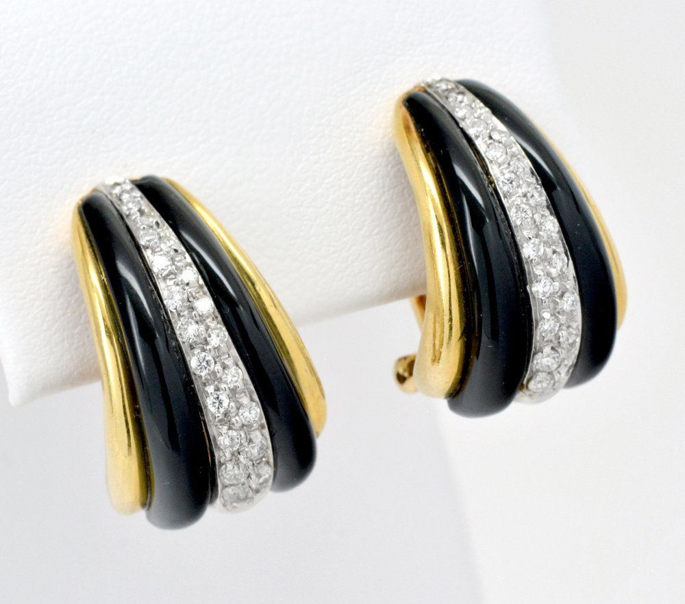 18k Gold Black Onyx & Diamond Earrings