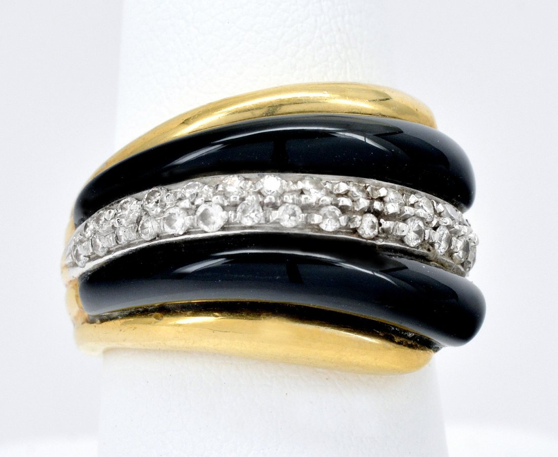 18k Gold Black Onyx & Diamond Ring