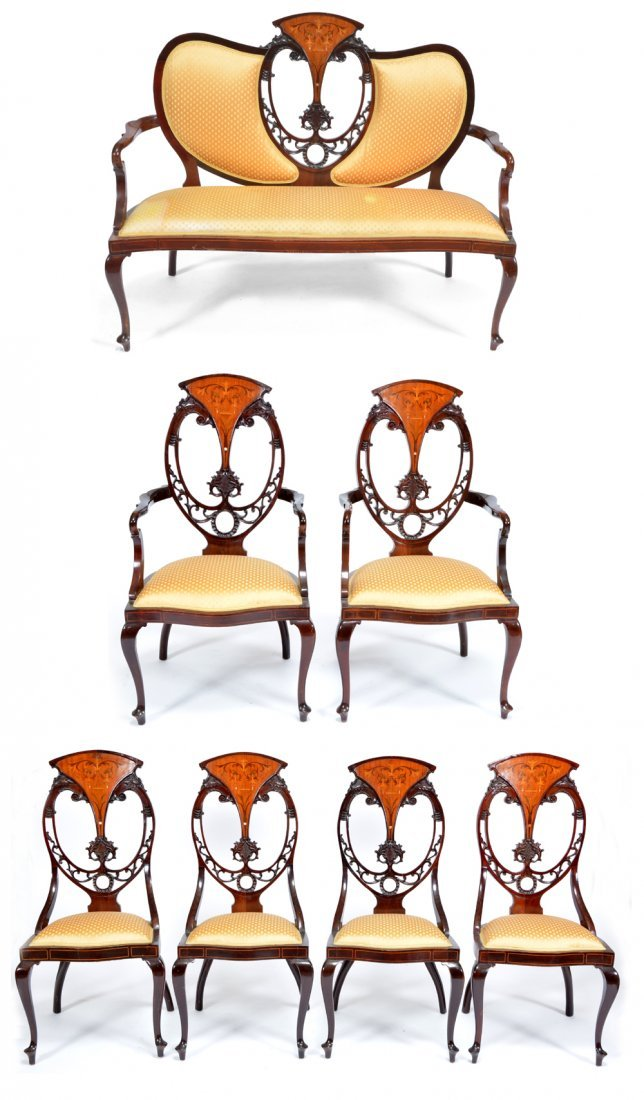 Edwardian mahogany & marquetry parlor suite