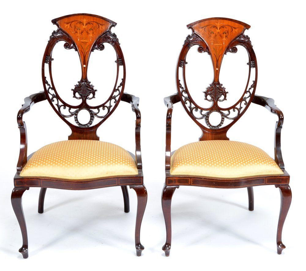 Edwardian mahogany & marquetry parlor suite - 3