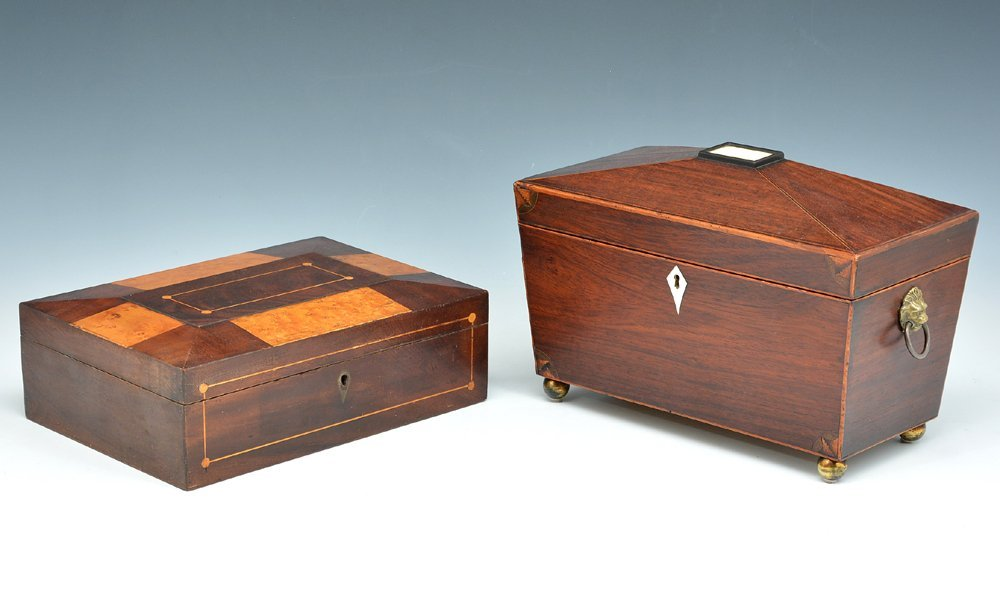 English tea caddy and a sewing box
