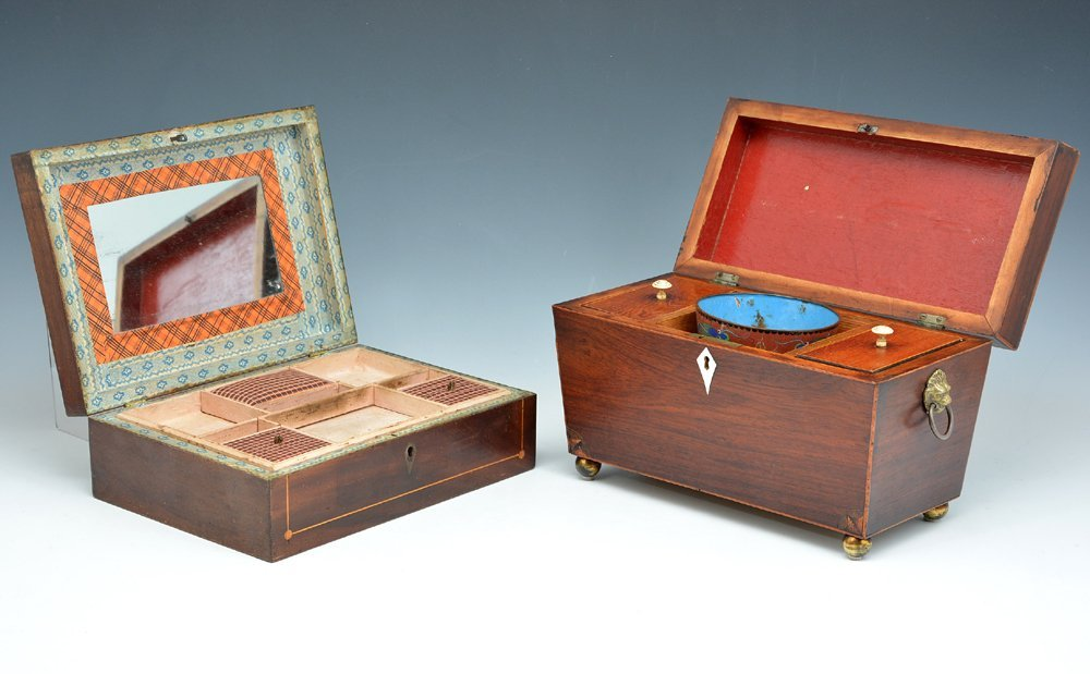 English tea caddy and a sewing box - 2