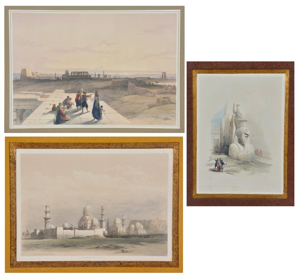 3 David Roberts lithographs, Egyptian Monuments
