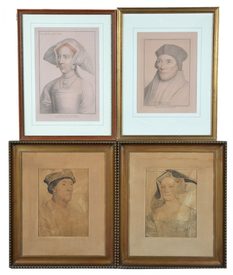 4 tinted Holbein engravings, nobles