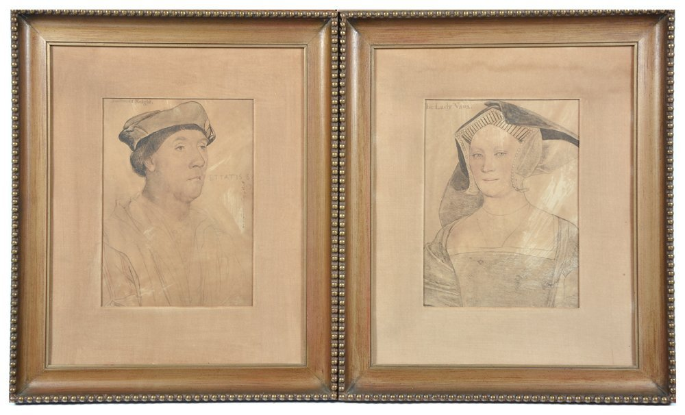 4 tinted Holbein engravings, nobles - 3
