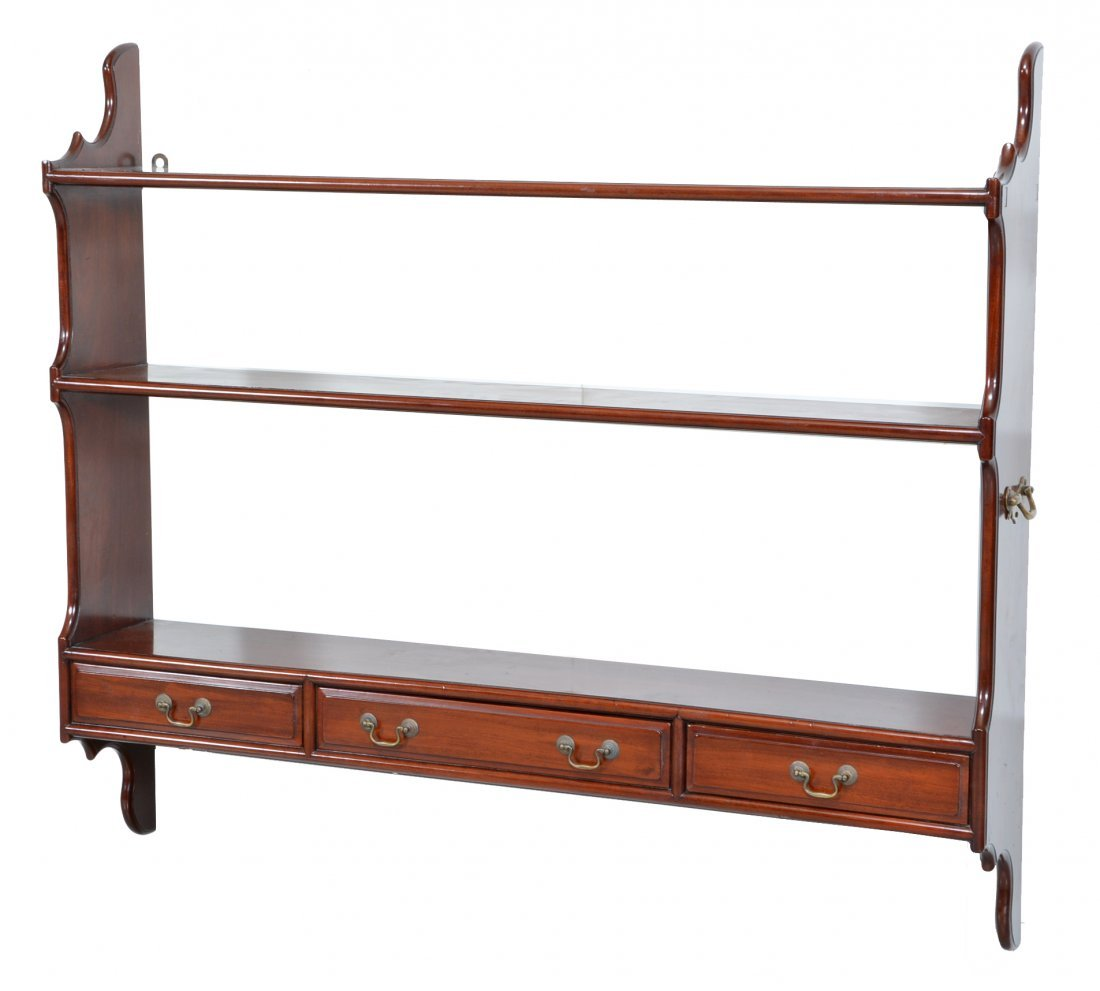 English mahogany Georgian style wall shelf, 19th c