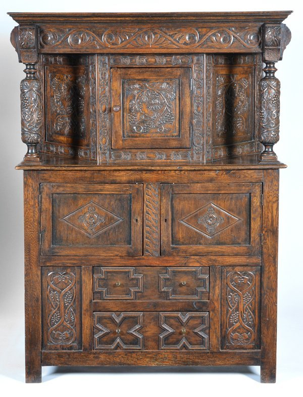English oak Jacobean court cupboard, 19th c