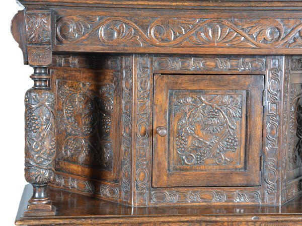 English oak Jacobean court cupboard, 19th c - 2