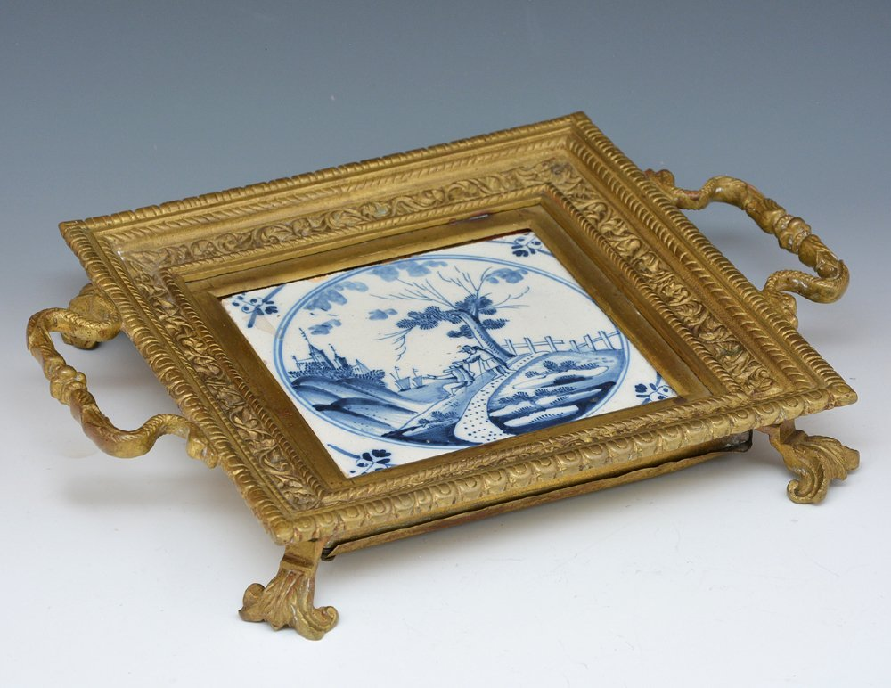 Brass trivet with early 18th c delft tile, 19th c