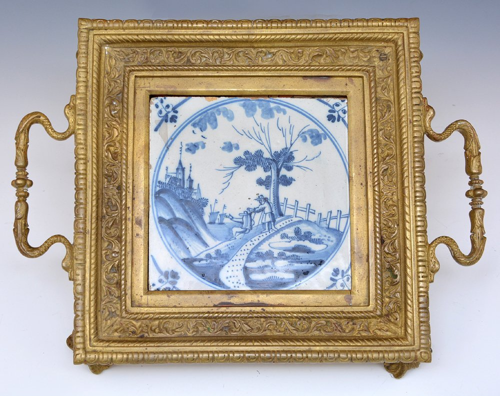 Brass trivet with early 18th c delft tile, 19th c - 3