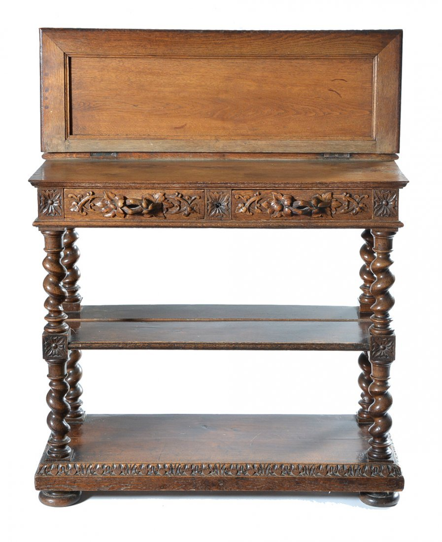 English oak three tier server, 19th c - 2