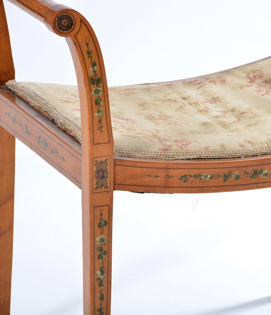 Sheraton style painted boudoir bench - 2