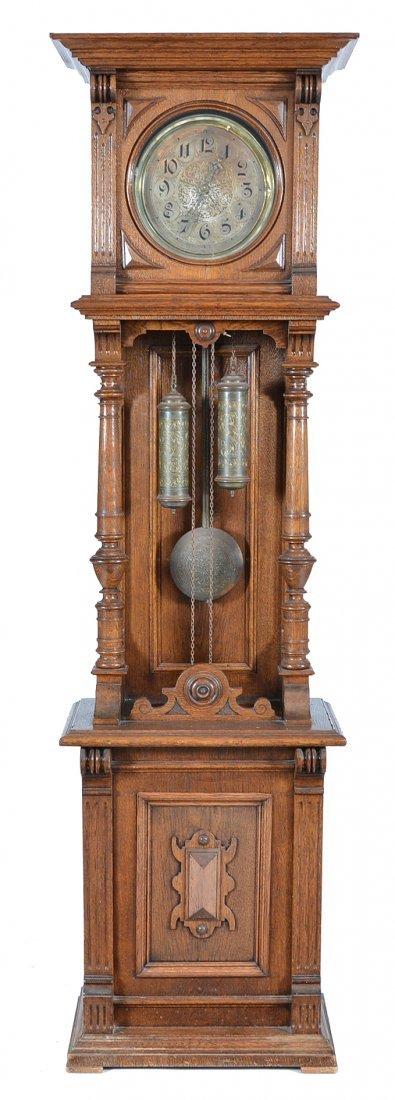 German Oak Tall Case Pendulum Clock