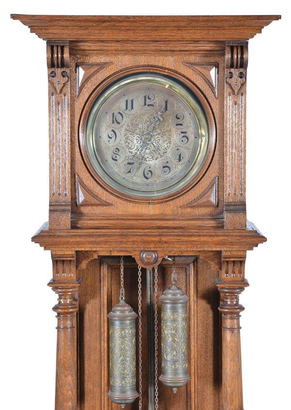 German Oak Tall Case Pendulum Clock - 2