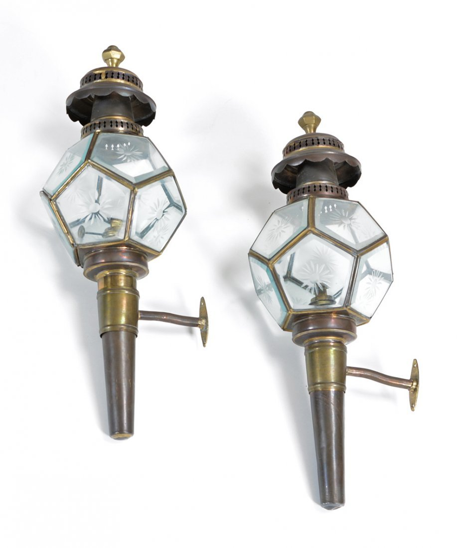 Pair of brass and etched glass carriage lamps