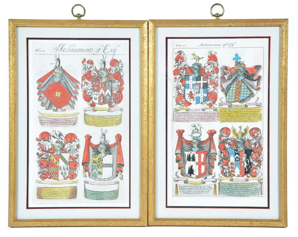 2 framed folios with colored engravings of coats of