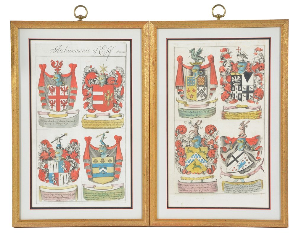 2 framed folios with colored engravings of coats of - 2