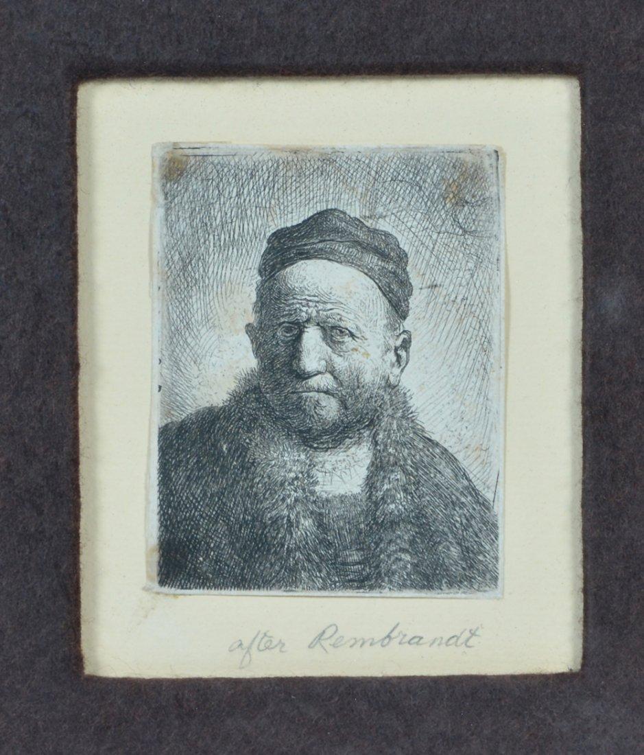 Engraving after Rembrandt, Portrait of a Man