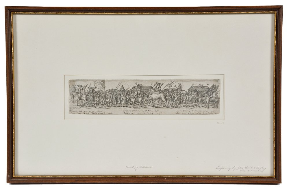 Jan de Bray etching, Marching Soldiers, after H.S. - 2