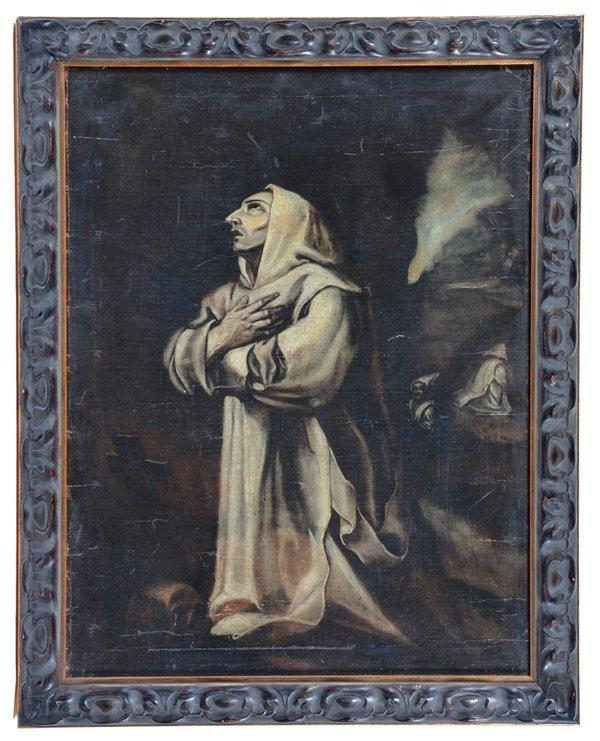Spanish school painting, El Greco style monk, 19th c